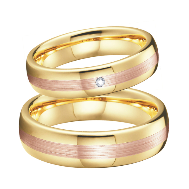 Unique Lover's Alliances Wedding band Tungsten rings men Rose Gold Color Anniversary Engagement couple rings for women