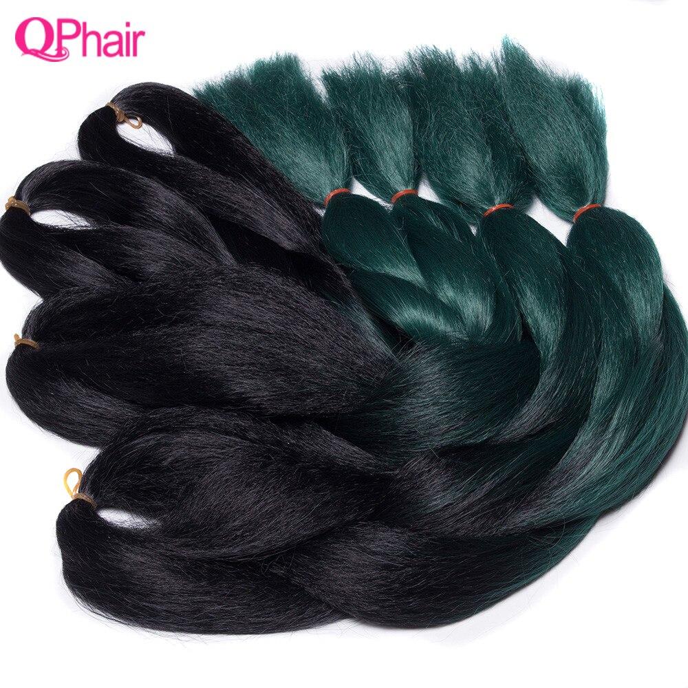 QP волосы зеленые Омбре Kanekalon плетение волос 24 дюймов Jumbo Косы черный зеленый коса синтетические расширения вязаный крючком Твист волос 10 шт.