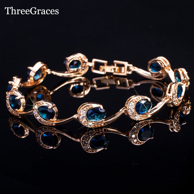 ThreeGraces New Fashion Ladies Accessories Gold Color Women Navy Blue Crystal Chain Bracelets Bangles With Zircon Stone BR064
