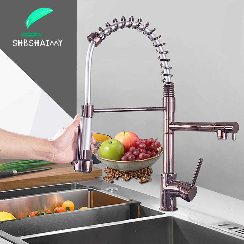 Rose Gold Spring Kitchen Faucet Black Pull Down Kitchen sink Crane Dual Swivel Spout Kitchen Mixer Tap Hot Cold Water Mixer