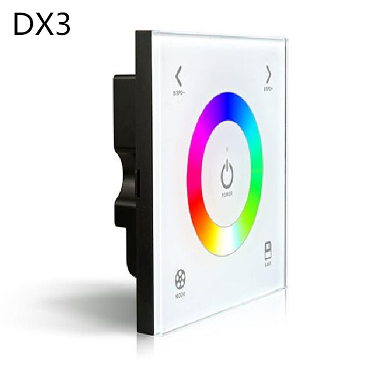 DX3 Touch Panel Wall Mount RGB LED controle dmx Controller 2.4G RF Wireless Sync Control DMX512 Signal Output for RGB led Strip dc12 24v d5 touch panel brightness adustable dimmer controller wall mount 4zones control dmx512 output for single color strip