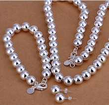 2015new925 sterling silver 10mm hollow ball beads necklace bracelet earring for women men's fine fashion jewerly trendy
