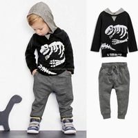 2016 Spring Autumn Baby Boy Clothing Set Skeleton Dinosaur Long Sleeved Hooded Cotton Clothes Set Black