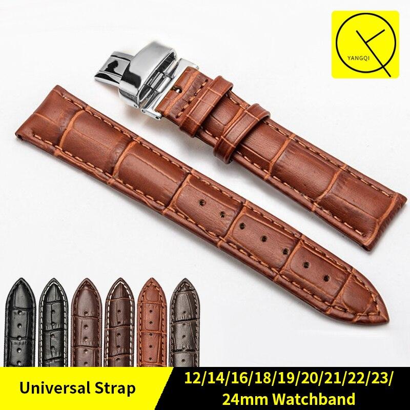 Vitello Cuoio Genuino Bracciali Cinghia Universale per 16mm 18mm 22mm 24mm Cinturino Fibbia a Farfalla Accessori Per Orologi + Strumenti gratuiti