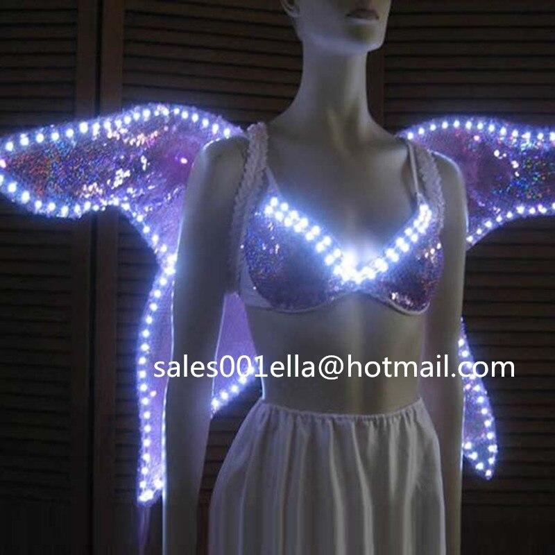 2015 nuevo diseño Led luminoso que brilla traje de alas + sujetador ropa festiva