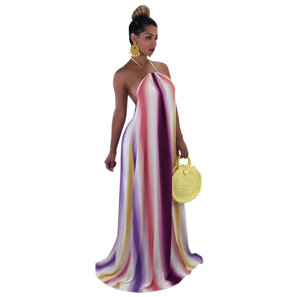 080a2c26ed6 2018 Sexy Women Rainbow Stripe Backless Maxi Dress Halter Neck Backless  Summer Plus Size Dress Long Boho Beach Dress-in Dresses from Women s  Clothing on ...