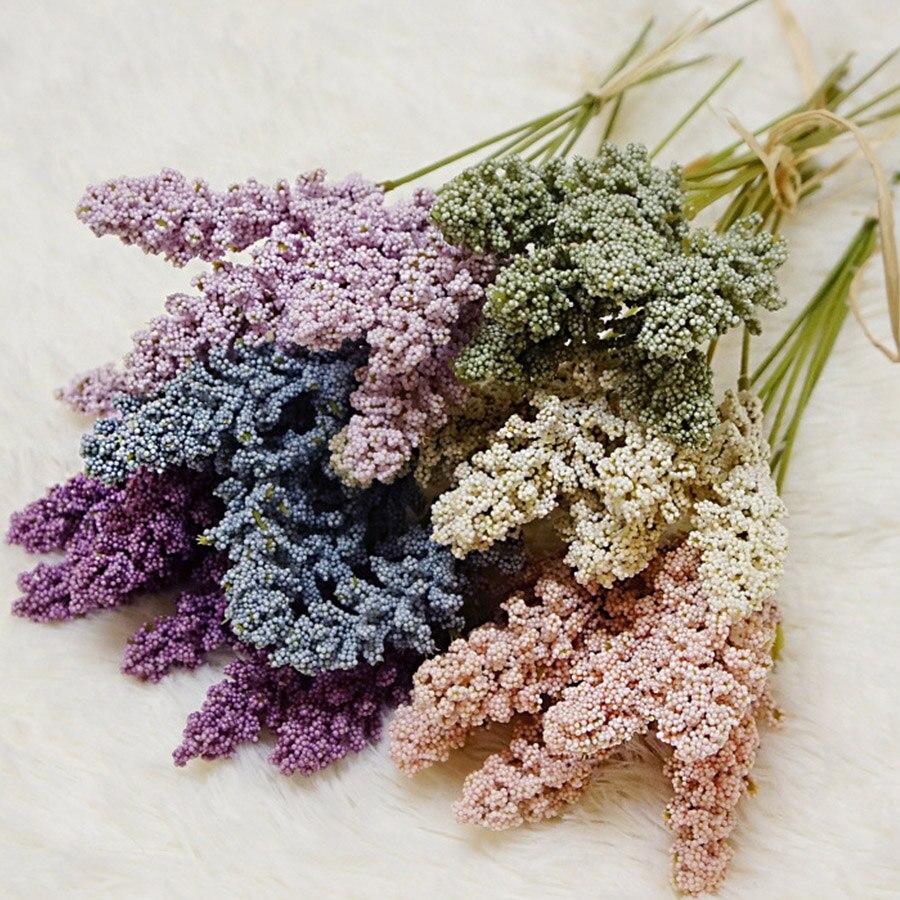 6 stks/pak Kunstmatige Vanille Mini Schuim Berry Spike Kunstmatige Bloemen Boeket voor Home Plant Wanddecoratie Granen Plant Hoop