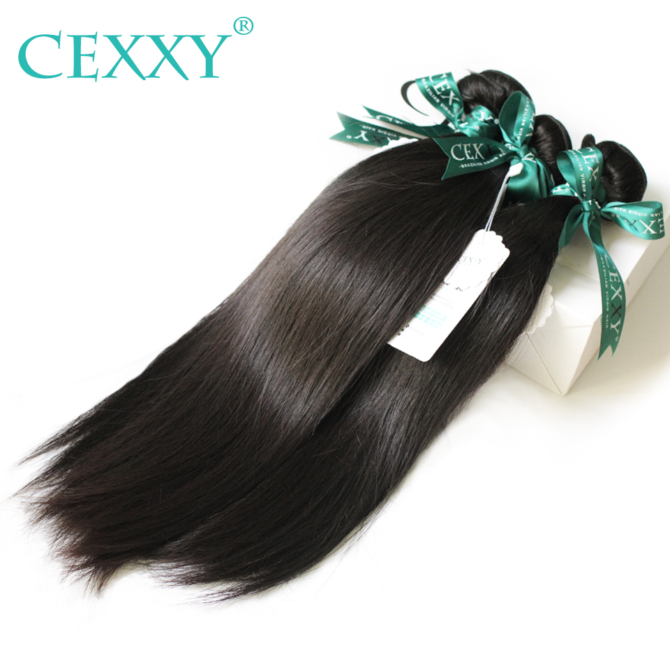 CEXXY 10A Hair Bundles Brazilian Virgin Hair Straight Brazilian Hair Weave Bundles Unprocessed Human Hair Free