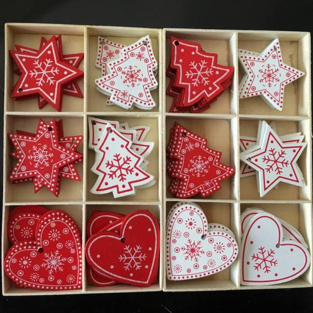 10 sztuk/zestaw biały czerwona choinka Ornament drewniane wiszące zawieszki anioł śnieżny dzwon ełk gwiazda dekoracje na boże narodzenie dla domu