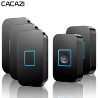 CACAZI Home Wireless Doorbell Waterproof 1 2 Transmitter 1 2 3 Receiver Battery Calling Bell Chime US EU UK AU Plug 300M Remote
