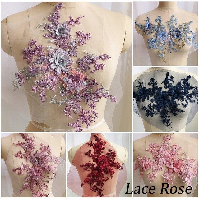 36abcec75 1 piezas 3D flores con cuentas de perlas bordado parche para la boda vestido  de