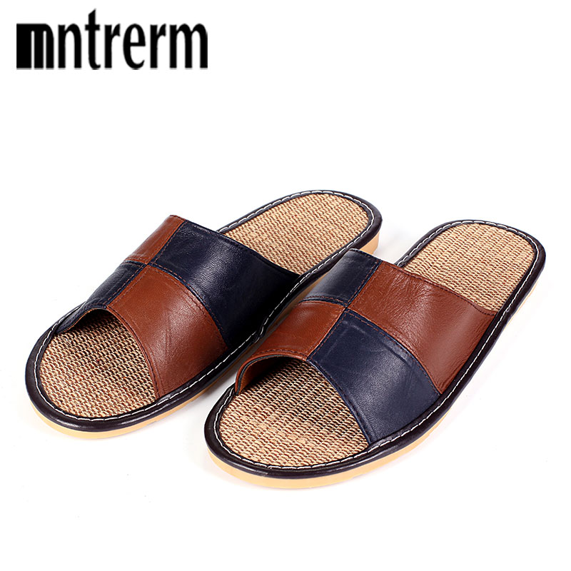 Mnterrm Hot Sale Men Home Slippers Linen Home Slippers Indoor Bedroom Sandals Couple Sheepskin Leather Floor Slippers