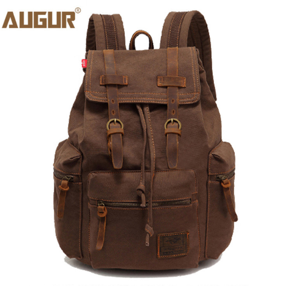 AUGUR Women And Men's Vintage Canvas Bag Laptop Backpack Men Travel Large Capacity Backpack School For Girls Man Backpacks Bags