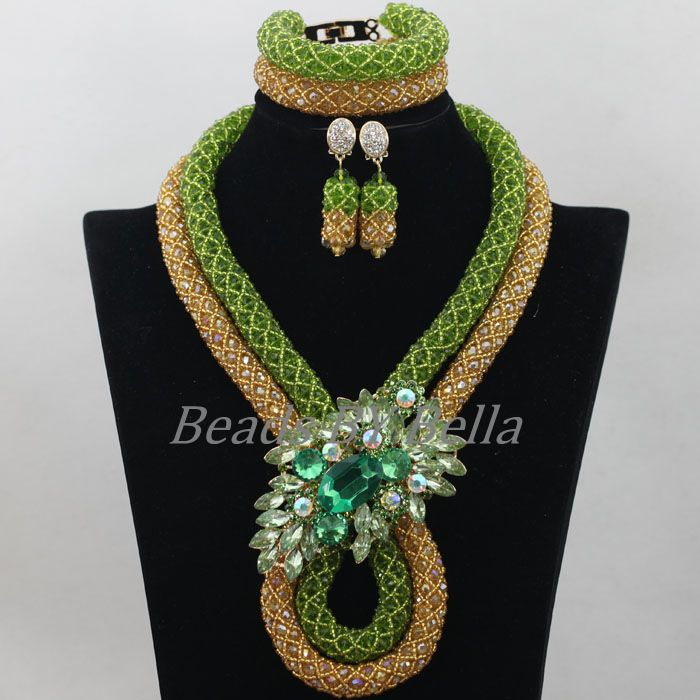 African Wedding Beads Jewelry Set Green Gold Crystal Beads Jewellery Nigerian Traditional Beads Necklace Free Shipping ABF687African Wedding Beads Jewelry Set Green Gold Crystal Beads Jewellery Nigerian Traditional Beads Necklace Free Shipping ABF687
