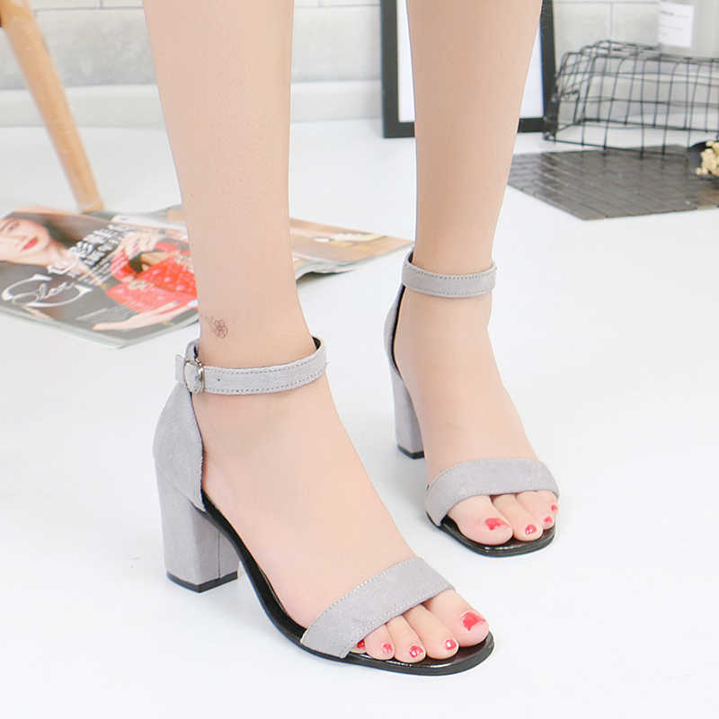 4ee0bfd886d ... 2019 new retro fashion sandals summer suede metal buckle national wind  wild simple high heels trend ...