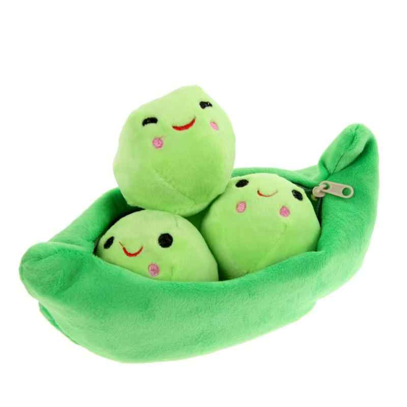 25CM Baby Green Pea Plant Beans Plush Toys for Kids 3 Cute Smile Balls With Bag Plush Stuffed Toys Girls Boys Toys Random Send