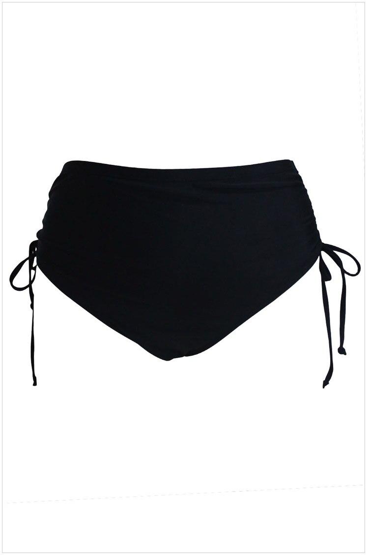 Для женщин Плавки бикини черный Высокая Талия Сторона Ruched Плавание плавки летние Пляжные шорты Плавание одежда плюс Размеры XL 5XL