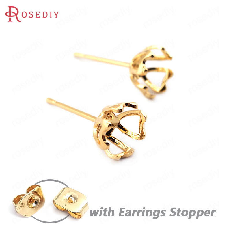 (33738)20PCS Trays 6MM 24K Gold Color Brass Flower Arc Trays Stud Earrings Pins High Quality Diy Jewelry Findings Accessories