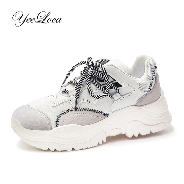 Белые кроссовки на платформе Для женщин 5,5 см каблук толстой подошве легкие мягкие дышащие папа обувь Bambas Mujer Flatform корзина женская обувь