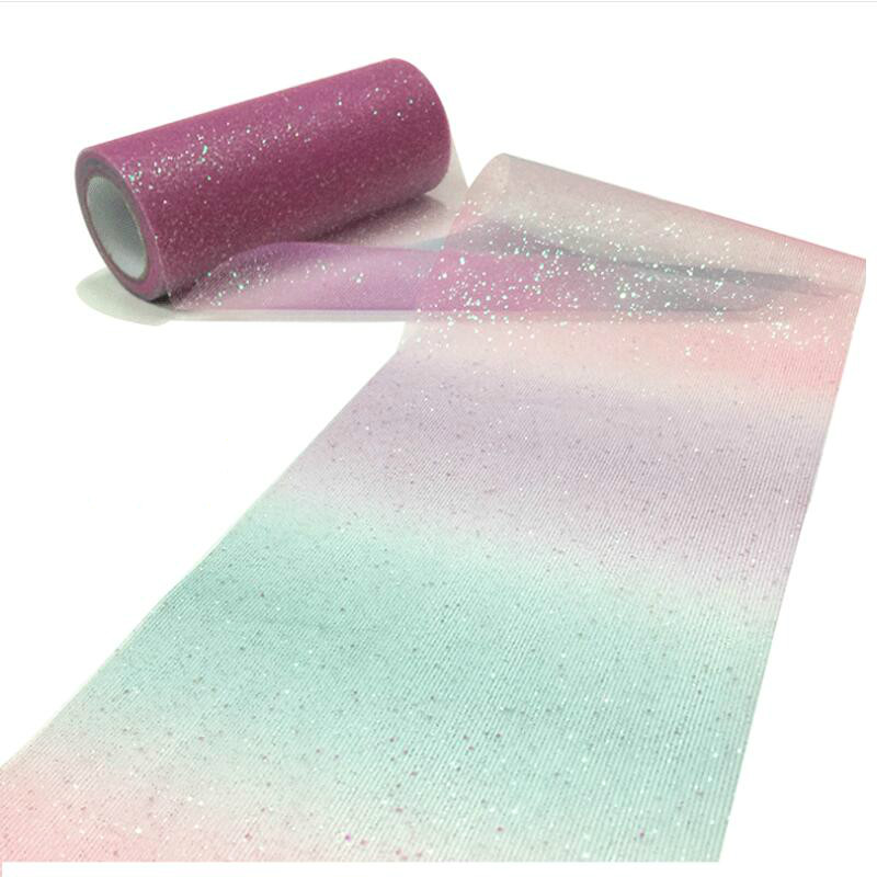 Image 2 - 10Yard/roll Rainbow Glitter Tulle Roll Sequin Crystal Organza Sheer Fabric DIY Craft Gift Tutu Skirt Home Wedding Decoration-in Party DIY Decorations from Home & Garden