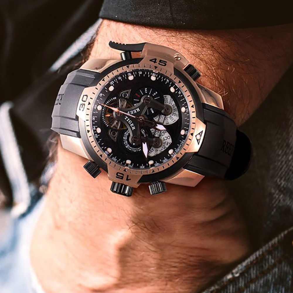 리프 타이거/rt 디자이너 시계 남성용 큰 다이얼 복잡한 시계 영원한 달력 고무 스트랩 시계 rga3503