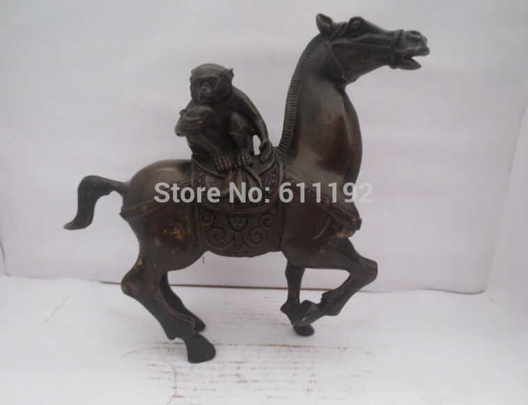 אסיה SCY עתיק ברונזה בעלי החיים פסל מתכת מלאכת יד, יד מגולפת סוס קוף פיסול