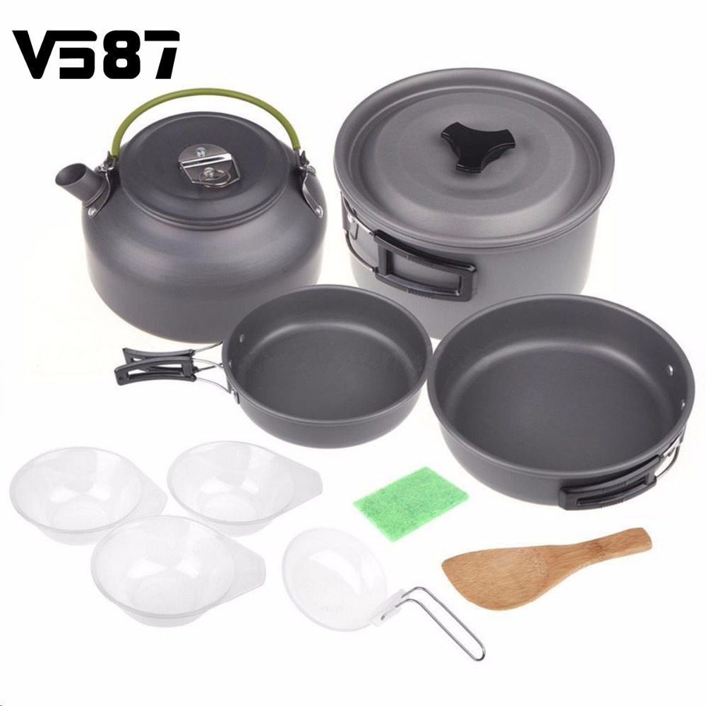 Cookware 1 Set Outdoor Aluminium Portable Outdoor Camping Hiking Backpacking Cooking Picnic Bowl Pot Pan Kits