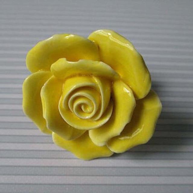 Rose Knöpfe Gelbe Blume Pull Moderne Mode Dresser Drawer Knob ...