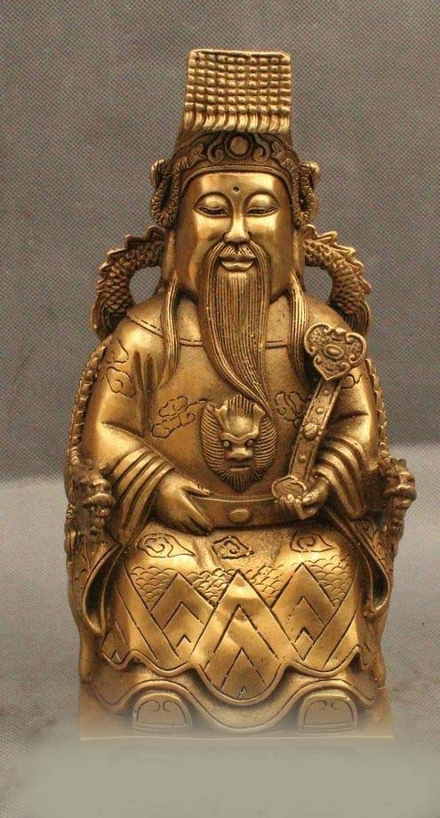 """DS 10"""" China Chinese Taoism Deity Brass Dragon God of Heaven Jade emperor Statue