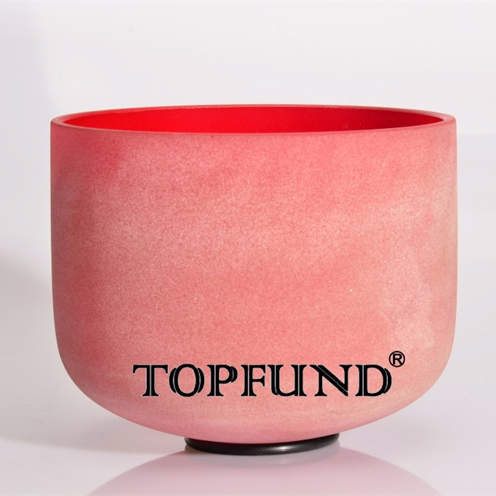 TOPFUND Red Colored Frosted Quartz Crystal Singing Bowl 432HZ Tuned C note Root Chakra 10 With Free Mallet and O-Ring topfund red color perfect pitch c adrenals chakra frosted quartz crystal singing bowl 10 with free mallet and o ring