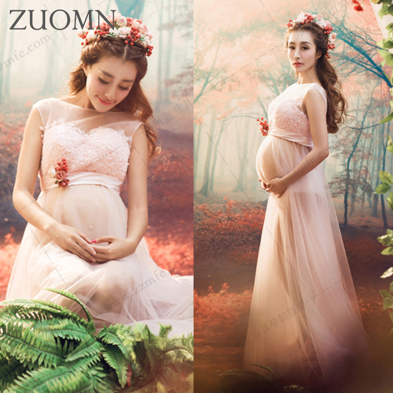 ФОТО New Pregnancy Photo Shoot Studio Pink Clothing Maternity Long Dress Pregnant Photography Props Maternity Gown Dress YL528