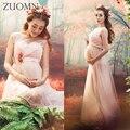 Nueva sesión de fotos de embarazo estudio rosa ropa apoyos de la fotografía de maternidad embarazada de maternidad largo dress gown dress yl528