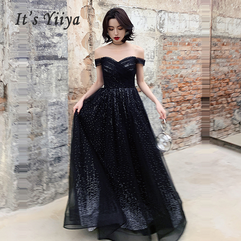 It's Yiiya Evening Gowns Elegant Black Off The Shoulder Lace Women Party Dresses 2019 Boat Neck Long Robe De Soiree E674