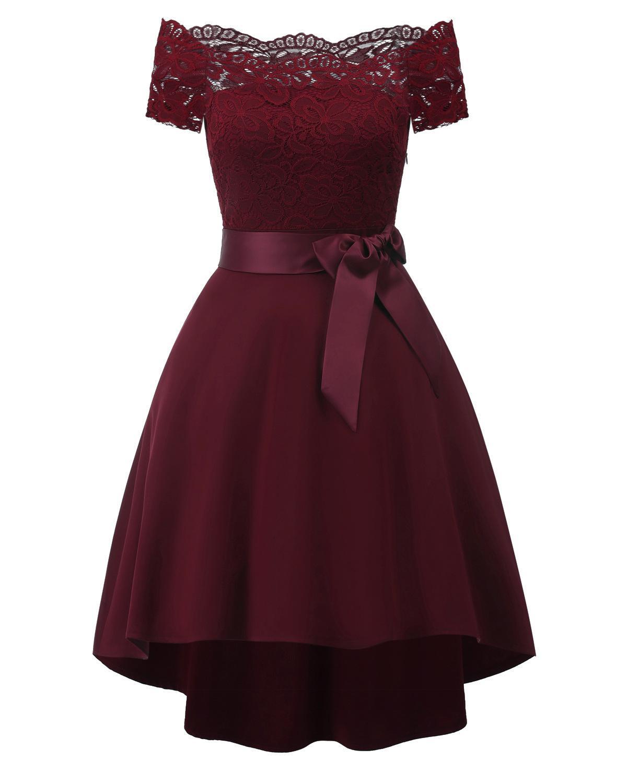 Off Shoulder Burgundy Hi-lo Lace   Cocktail     Dresses   Bow Robe elegant formal party   dress   2019 Short Vestidos Homecoming   Dress
