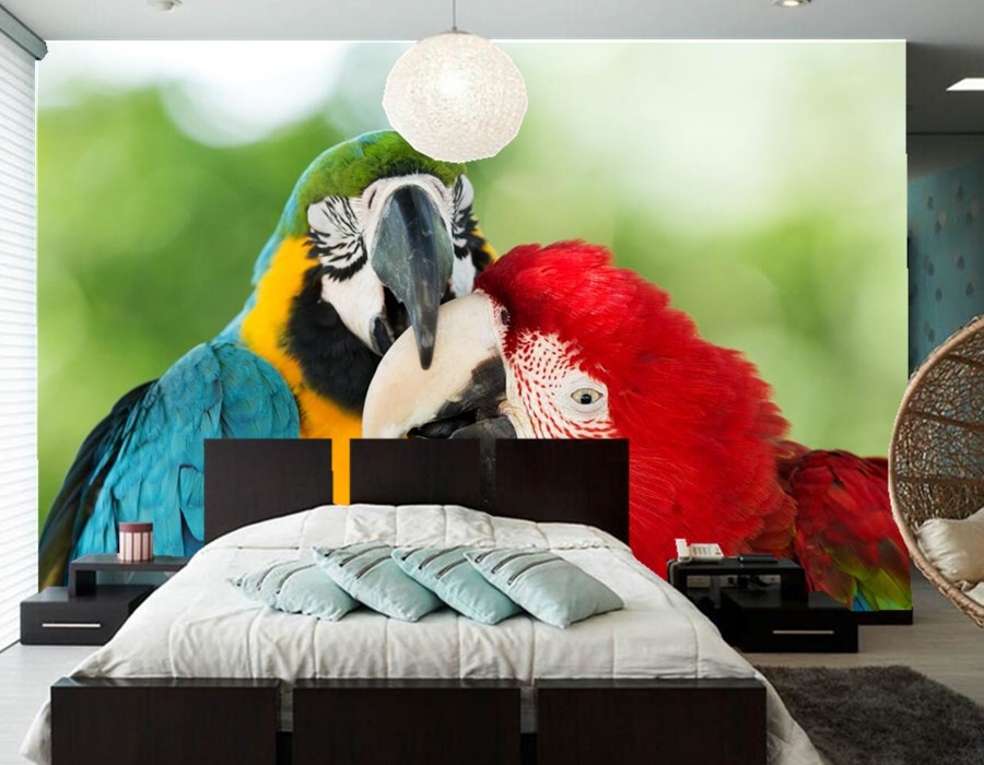 Custom Birds Parrots Two Beak Animals photo 3d wallpaper papel de parede,living room sofa TV wall bedroom wallpaper 3d mural custom papel de parede infantil space shuttle orbiting earth 3d cartoon mural for children room bedroom wall vinyl wallpaper