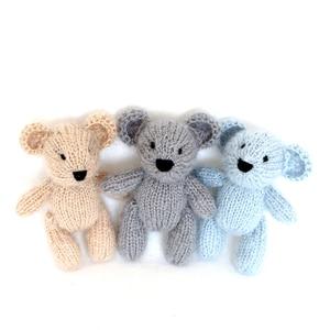 Maglia Teddy Bear Toy Puntello della Foto Piccola Mano-ha lavorato a maglia Coniglio Giocattolo Crochet Mohair bambola animale Appena Nato fotografia prop