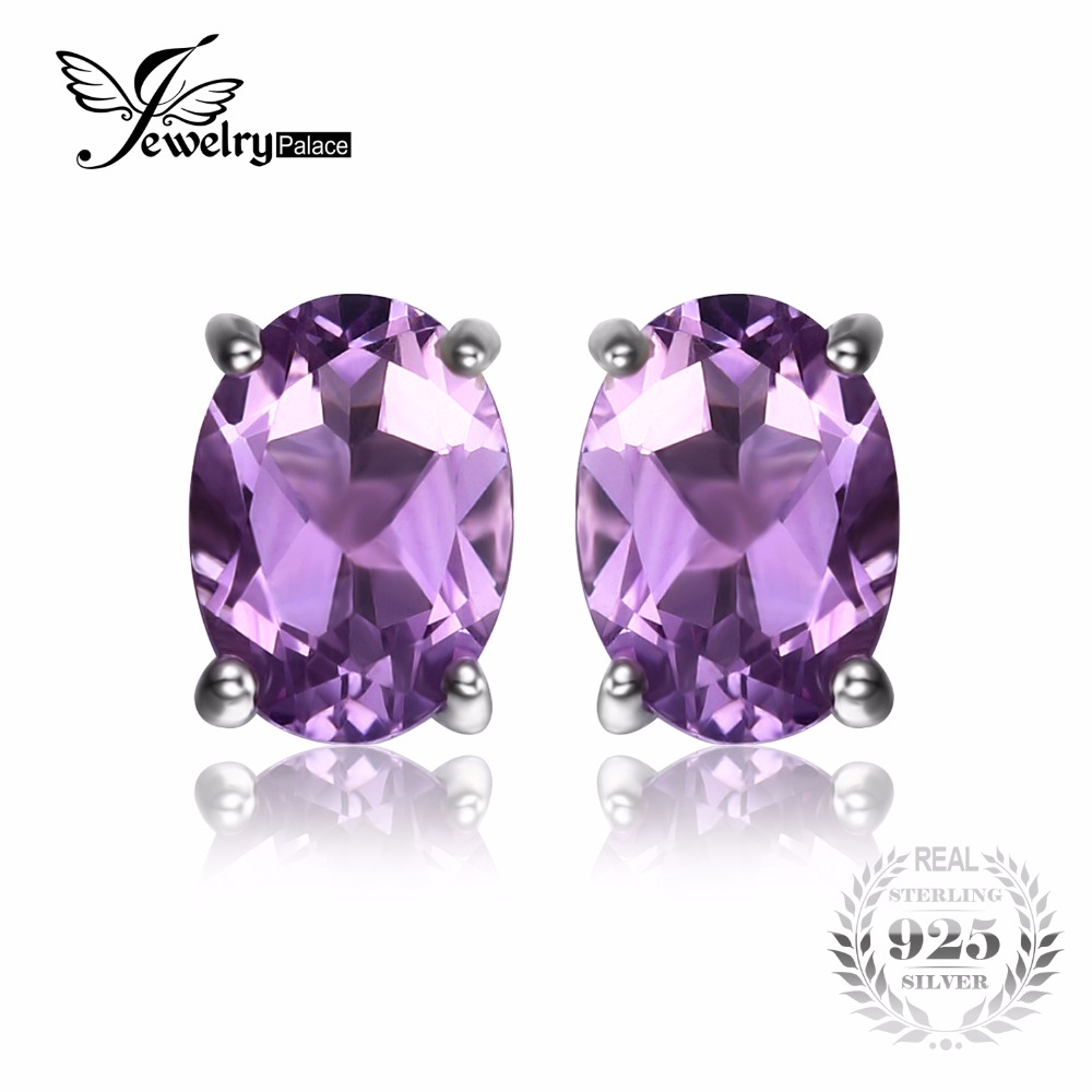 Jewelrypalace Oval 14ct Purple Amethysts Birthstone Stud Earrings Pure 925  Sterling Silver Jewelry Party Classic
