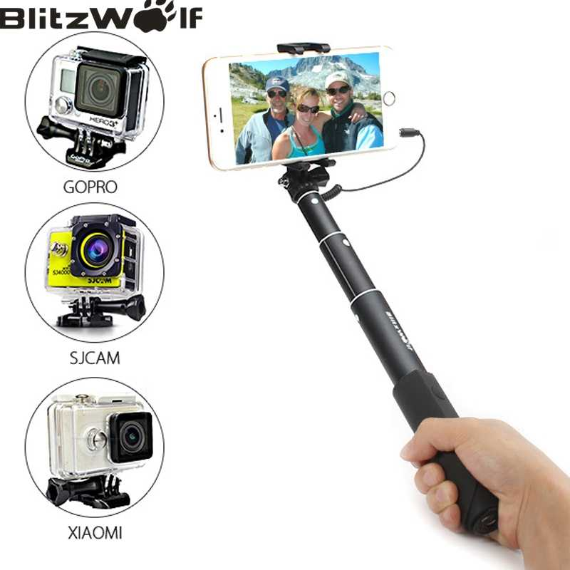 BlitzWolf Wired Control Mobile Phone Monopod Portable Extendable Selfie Sticks Universal For iPhone For Android Phone For Gopro