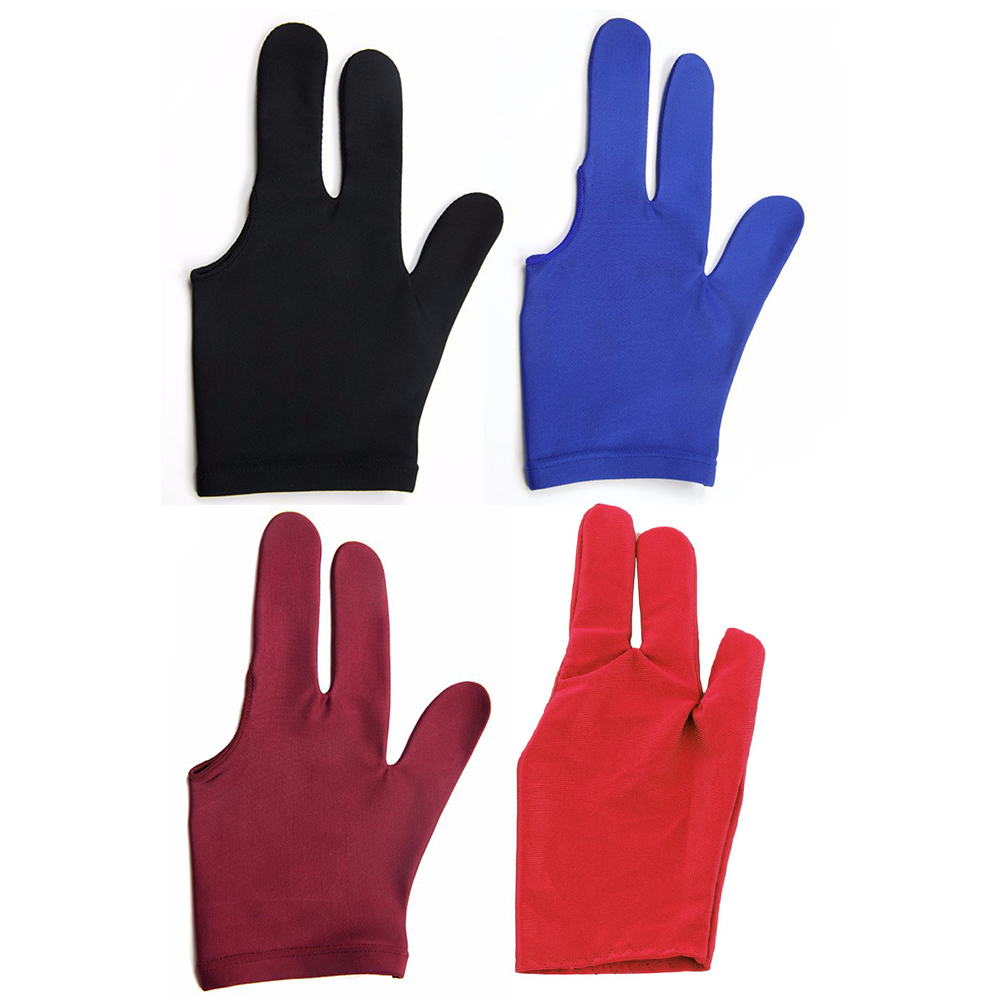 1 шт. 3 пальцев прочный нейлон перчатки для бильярдный Кии для снукера шутер цвет: черный, Синий Фиолетовый Красный Цвета