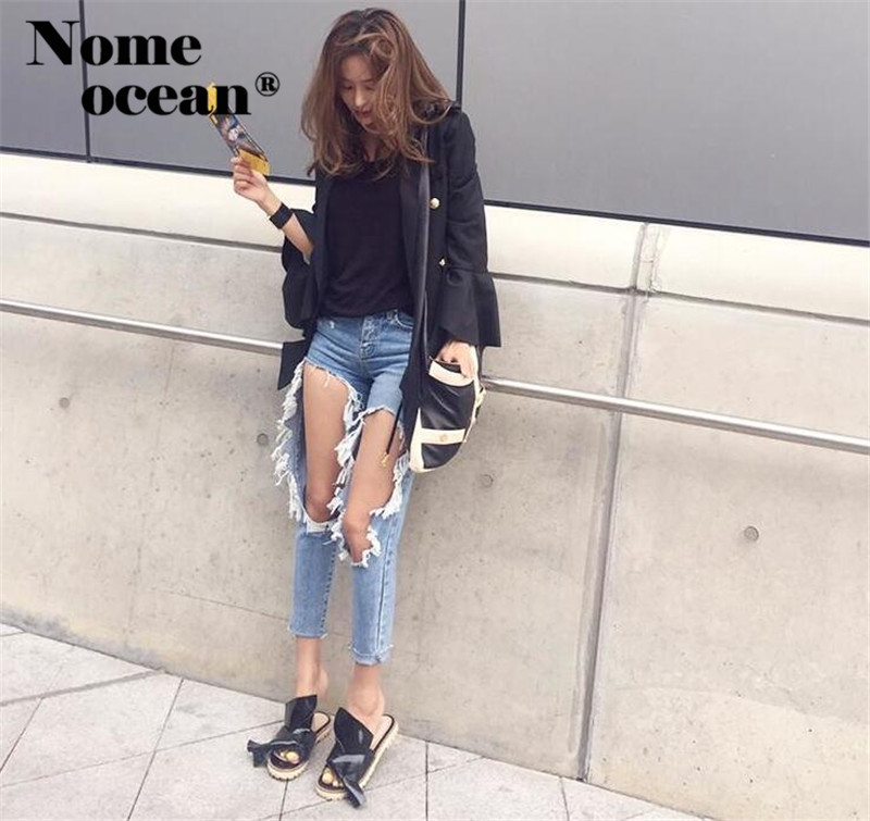 autumn shoes new & pre-owned designer online US $13.99 25% OFF|Big Cut Out Ripped Women Jeans Cut Out Holes Open Knees  Pencil Pants 2018 Autumn BF Casual Denim Pants Jean Trousers M17040505-in  ...