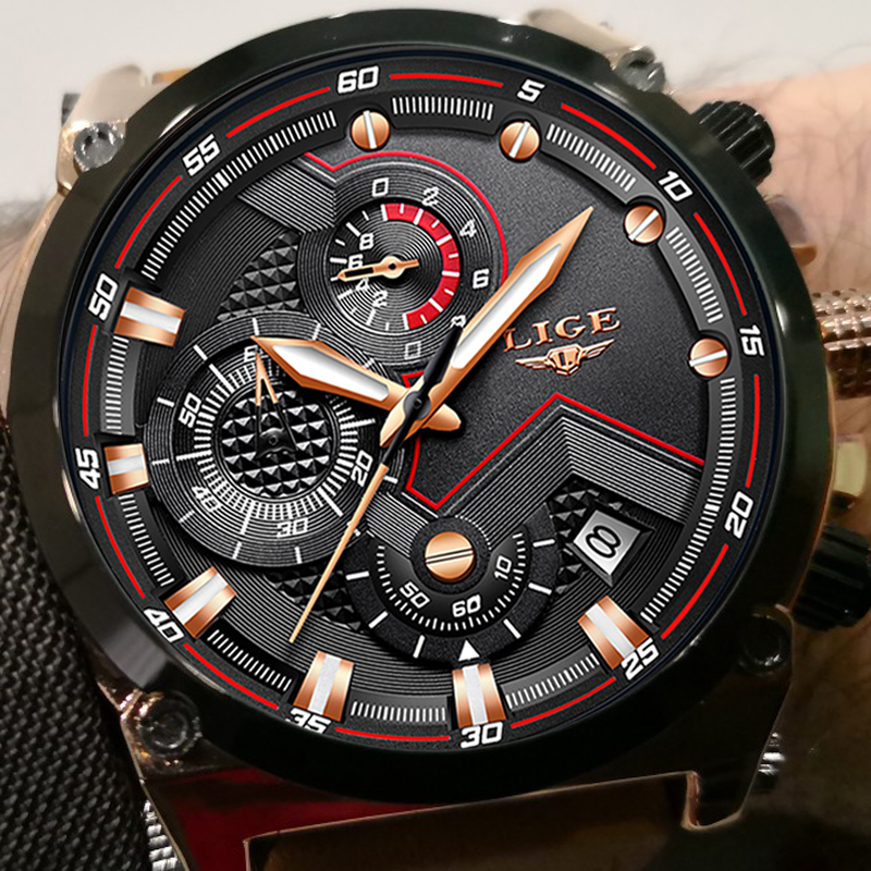 LIGE Top Luxury Brand Men's Sport Quartz Watch Brown Leather Men Watches Dress Business Casual Fashion Big Dial Black Male Clock professional eyebrow permanent makeup machine pen
