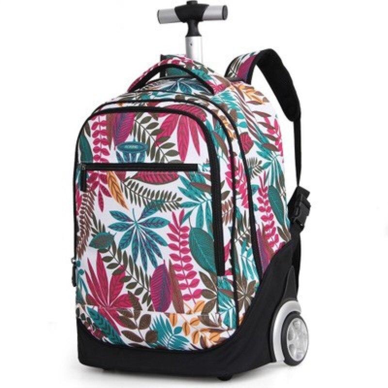 Sac à bandoulière double rouleau de mode, sac trolley à une épaule de grande capacité, sac à dos d'ordinateur sac de voyage à double usage 18 pouces