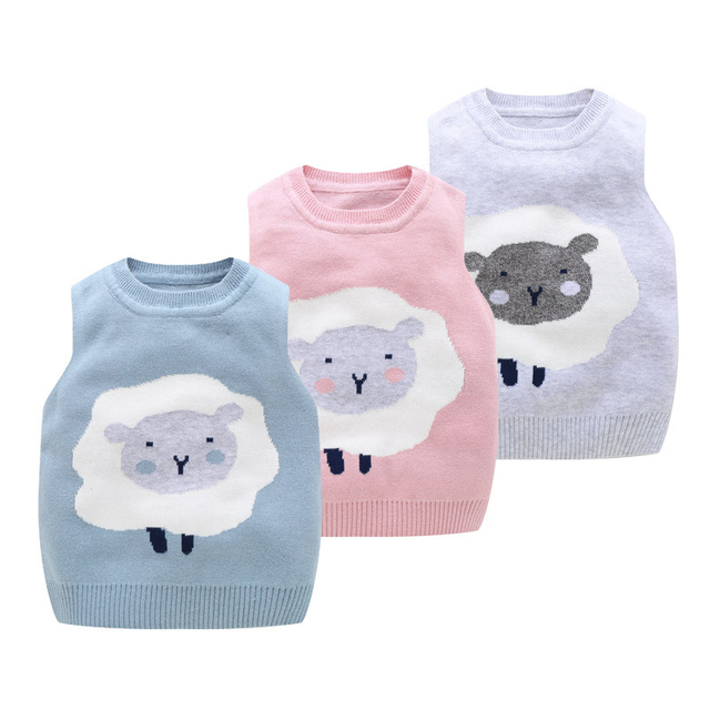 3097218c335a Cartoon Toddler Baby Sweater Vest Sheep Cute Baby Vest O Neck Knit ...