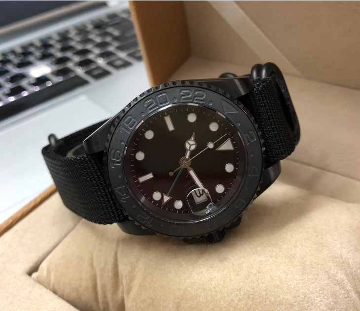 Sapphire crystal 41mm parnis PVD case Asian Automatic Self-Wind movement rotating ceramic bezel GMT luminous men's watch pa89-p8
