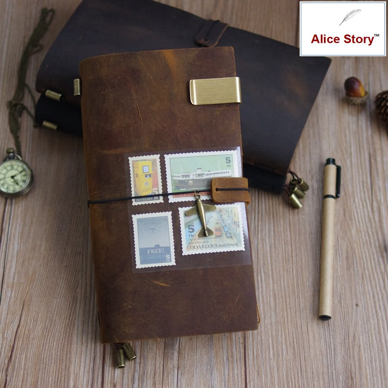 100% Couro Genuíno do Viajante Diário de viagem Notebook Jornal planner Presente Artesanal Do Couro Do Vintage Lettering Livre Embosse
