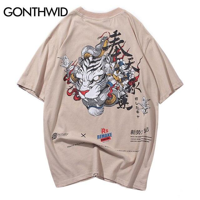GONTHWID Chinesischen Charakter Tiger Schlange Gedruckt T-shirts Street Hip Hop Männer Casual Kurzarm Tops Tees Sommer Männlichen T Shirts