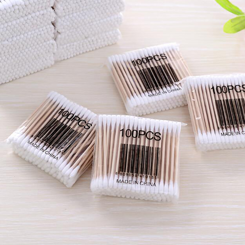 100pcs Wood Cotton Swab Cosmetics Permanent Makeup Health Medical Ear Jewelry Clean Sticks Buds Tip Wood Cotton Head Swab