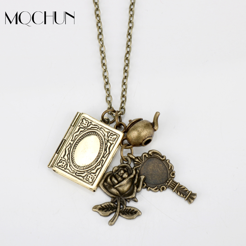 Movie Hot Sale Harry P Necklace Album Flower Mirror Badge Beauty Beast Necklace Women Girls Jewelry Christmas Party Cosplay Gift
