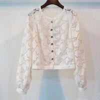Dressnow короткий кардиган женщин 2018 весна осень Длинные рукава свитер женские выдалбливать кардиган