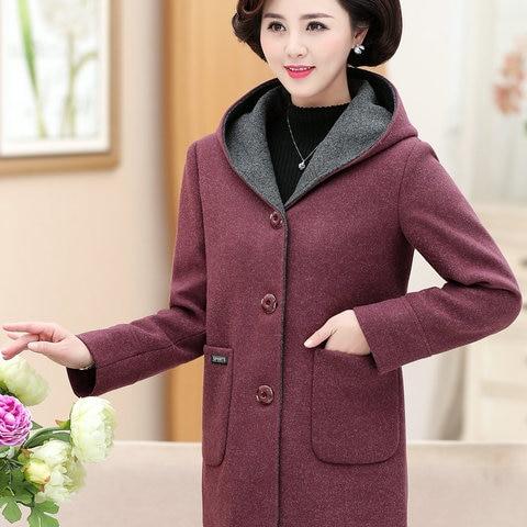 Winter Woman Tweed Hooded Coat Thicken Quilted Overcoat Female Red Green Wool Blends Pea Coats Women Warm Hood Woollen Outerwear Karachi
